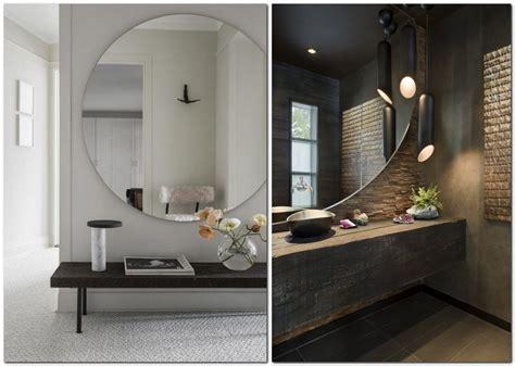 Superior Easy Bathroom Design Tool #1: 1-big-round-mirror-in-interior-design-home-decor-wall-hallway-console-table-bathroom-countertop-dark-brown-walls.jpg