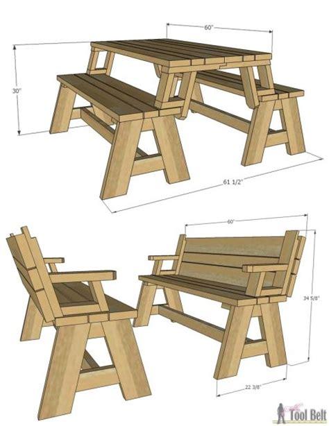 convertible picnic table  bench diy picnic table