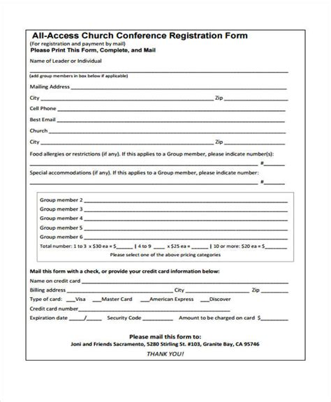 23 Conference Registration Form Templates Church Registration Form Template