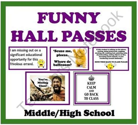 hallway pass funny hall passes for middle high school students product