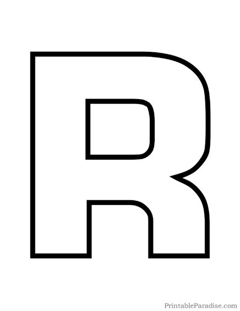printable letter r outline print bubble letter r