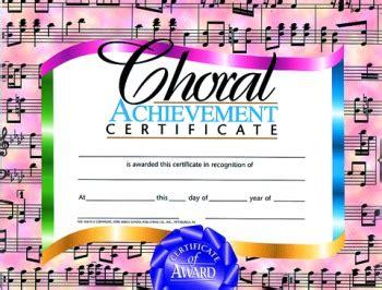 Choir Certificate Template by Buy Choral Certificate Awards Trophies