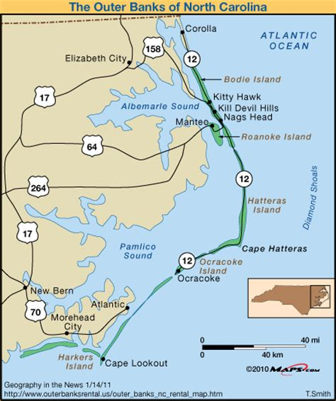 map of outer banks carolina outer banks map