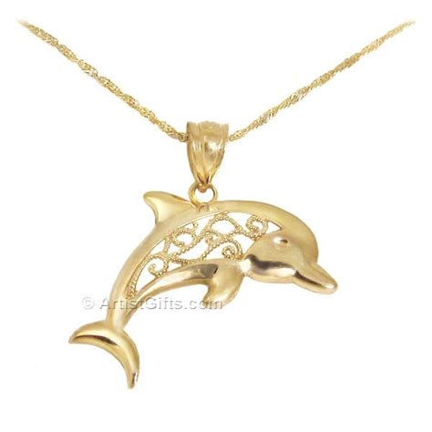 14k Gold Dolphin Pendant filigree gold dolphin necklace made in the u s a