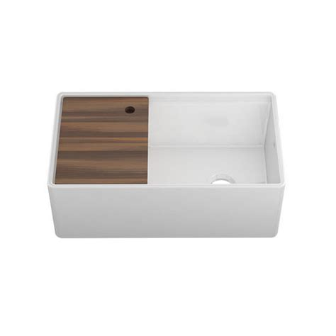 Kitchen Sink Cutting Board Fira Collection Single Undermount Fireclay Kitchen Sink W Ledge Reversible Apron And Cutting