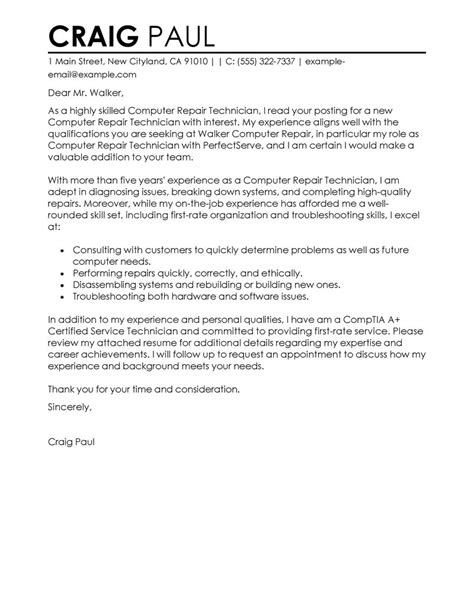 cover letter for computer technician computer repair technician cover letter exles
