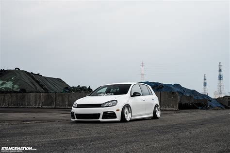 stanced volkswagen golf in white yasunobu s usdm style vw golf