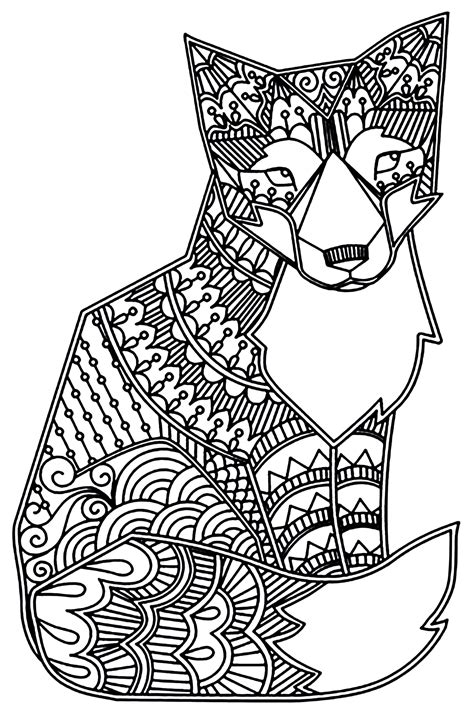fox foxes adult coloring pages