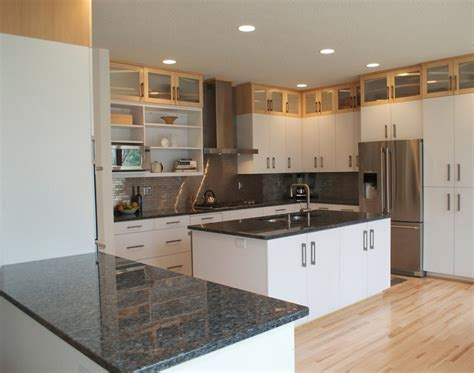 white kitchen cabinets black granite countertops dark brown laminated wooden wall mounted kitchen hanging
