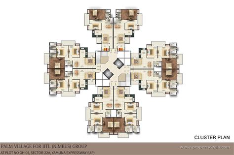 cluster house plans iitl nimbus palm village sector 22d greater noida