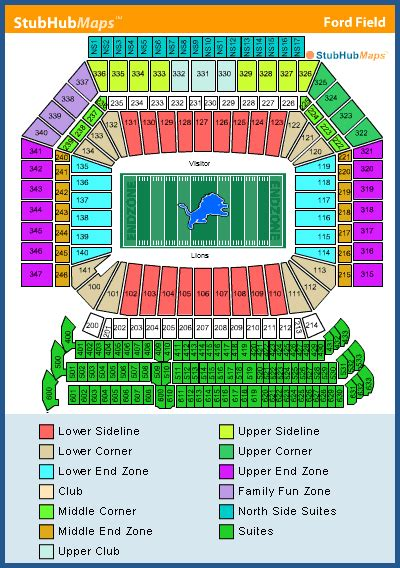 ford field directions ford field seating chart concert ford field seating