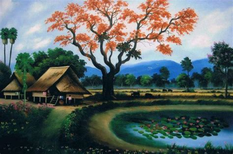 Lukisan Pemandangan Rumah Desa Klasik 1 10 lukisan pemandangan khas era 90 an ini membawamu