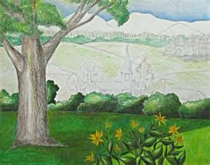Landscape Pictures Drawing Color Pencil Landscape Drawing