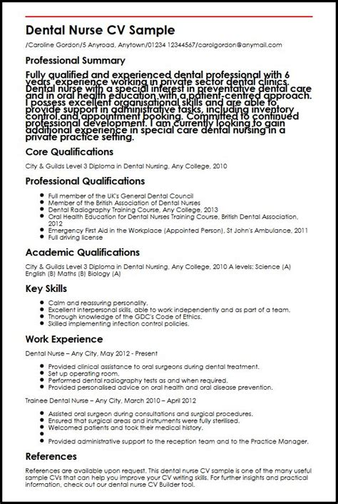 Nursing Cv Template by Dental Cv Sle Myperfectcv