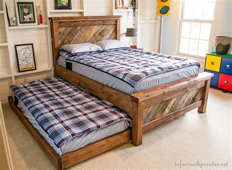 diy pallet trundle bed farmhouse pallet bed with rolling trundle