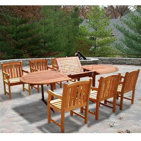 oval extension table w 6 armchairs outdoor dining set best