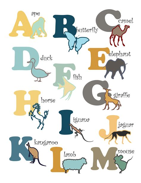printable letters with animals 6 best images of free printables woodland animals nursery