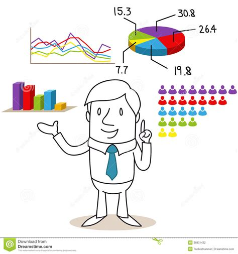 resultado cartoons businessman with election results and charts stock vector