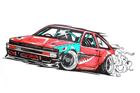 drift cars drawings toyota corolla ae 86 drift car illustration my