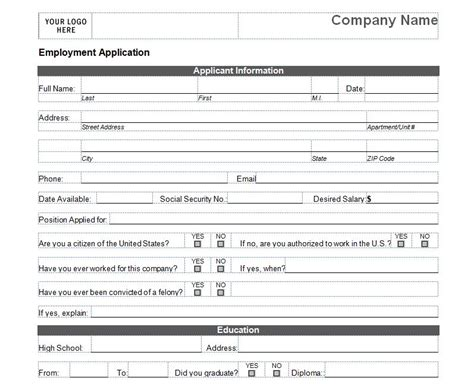 basic employment application template free gallery simple application form