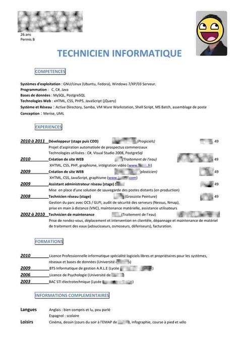 Exemple De Lettre De Motivation Technicien Telecom Exemple De Cv D Un Technicien En Informatique Cv Anonyme