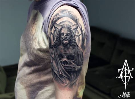 ram skull tattoo skull ram jesus by agat artemji best ideas