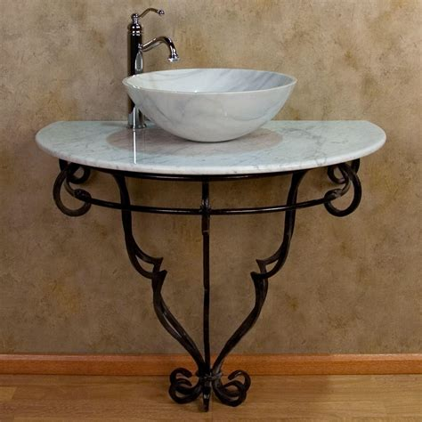 Wrought Iron Bathroom Vanity Wall Mount Wrought Iron Console Vanity For Vessel Sink Marble Top Bathroom