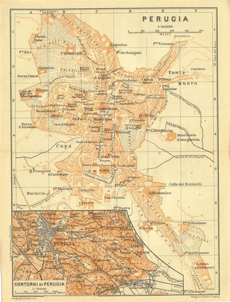 map of perugia italy 1909 city plan of perugia italy map