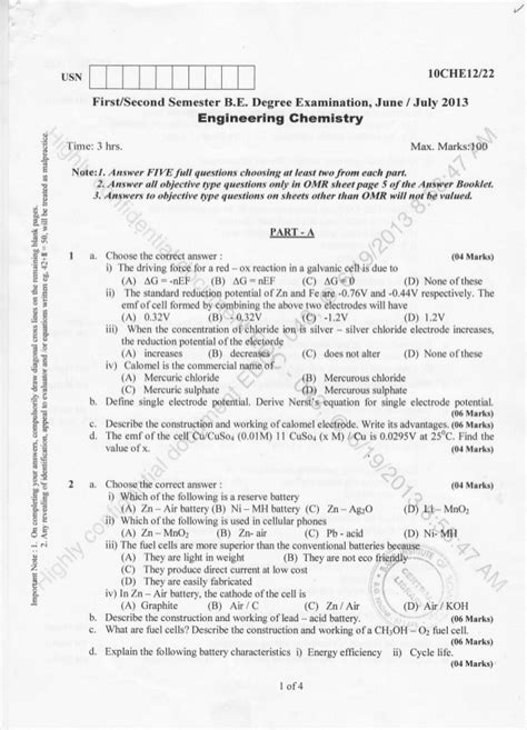 Ou Mba 1st Sem Subjects 2016 by 1st Semester Chemistry 2013 June Question Papers