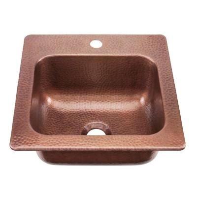 Copper Bar Sinks And Faucets by Sinkology Seurat Drop In Handmade Solid Copper 15 In 1 Bar Prep Copper Sink In