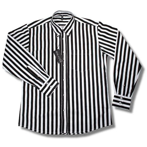 black and white striped l relco retro mod 60 s wide stripe button down l s shirt