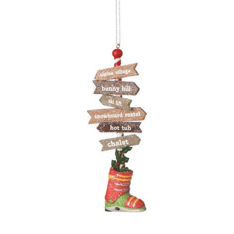 ski sign travel pole christmas ornament midwest cbk