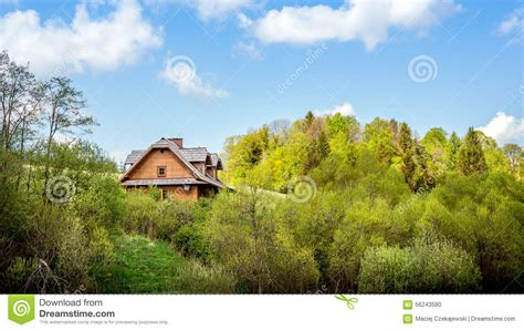 Blue Sky Cabins Lodge by Rustic Log Cabin Front Porch Exterior Stock Photo
