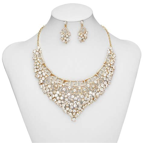 prom jewelry set key rhinestone bridal