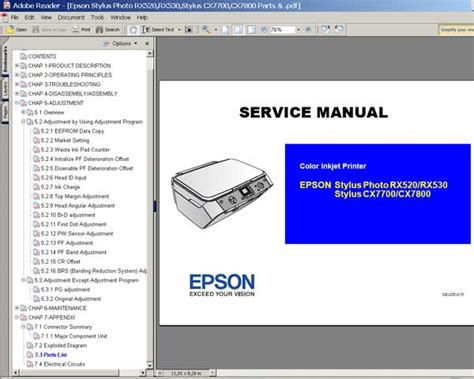 reset manual t11 epson rx520 rx530 cx7700 cx7800 service manual and