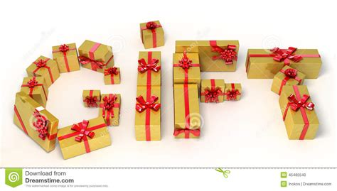 what is d best gift to gift d husband on anniversary word gift made of golden gift boxes 3d illustration stock illustration image 45485540
