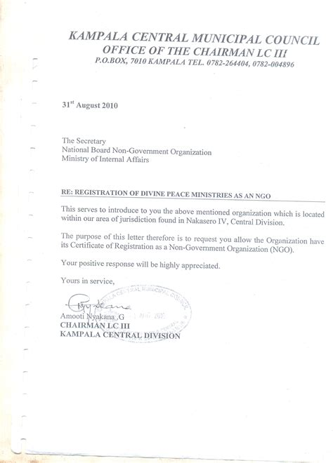 Recommendation Letter For To Minister Peace Ministries Corporate Ngo Partnerships
