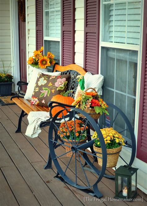 there s a pumpkin on my porch front porch decorated for fall