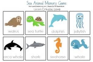 sea animals printable memory game