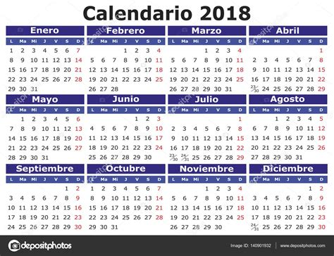 Calendario 2018 Editable Espa 241 Ol Calendario 2018 Horizontal Vector De Stock