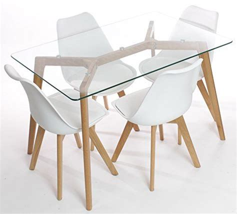 Glass Dining Table With Oak Legs Awesome Charles Dining Table With Four White Chairs Set Solid Wood Oak Legs And Clear