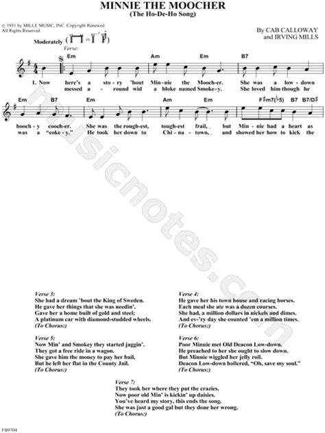 "Cab Calloway ""Minnie the Moocher"" Sheet Music (Leadsheet ... Minnie The Moocher Chords"