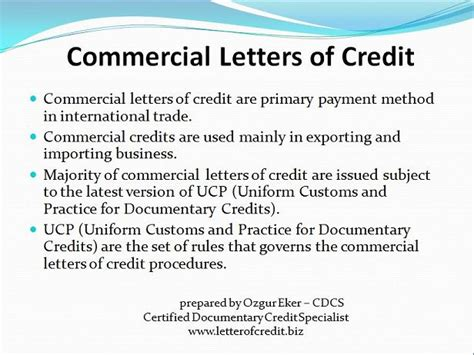 Commercial Letter Of Credit Types Of Letters Of Credit Presentation 2 Lc Worldwide International Letter Of Credit