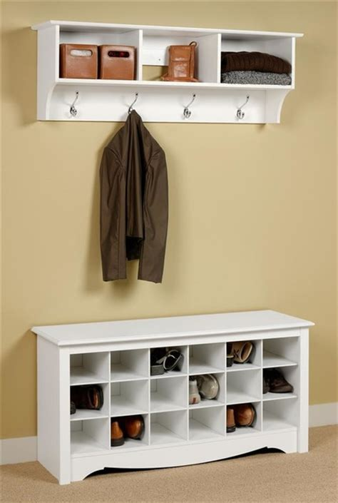 Entryway Wall Mount Coat Rack W Shoe Storage Contemporary Accent And Storage