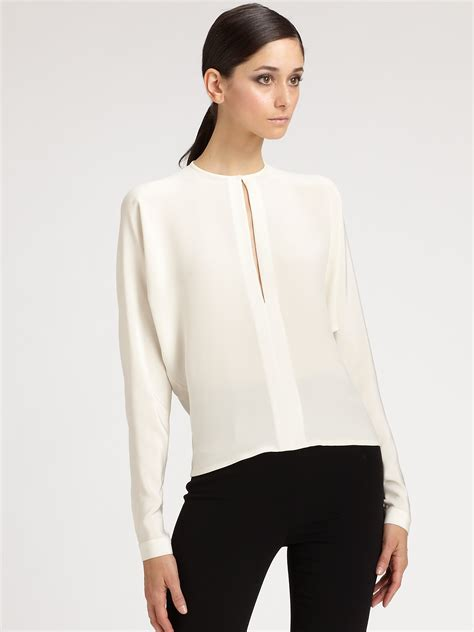 Whity Blouse lyst ralph collection silk blouse in white