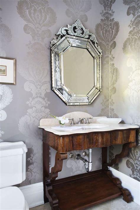 gray silver damask wallpaper traditional bathroom