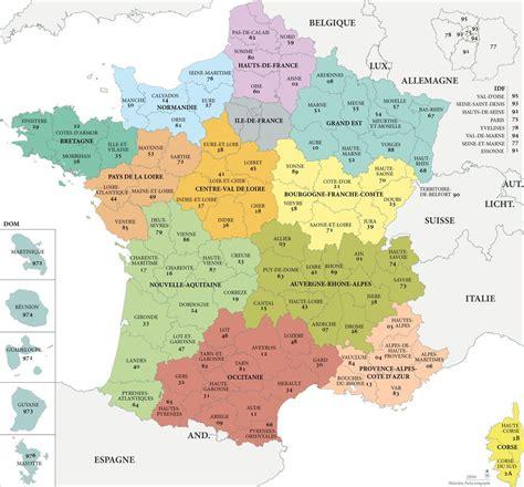 carte de france avec les departements  regions