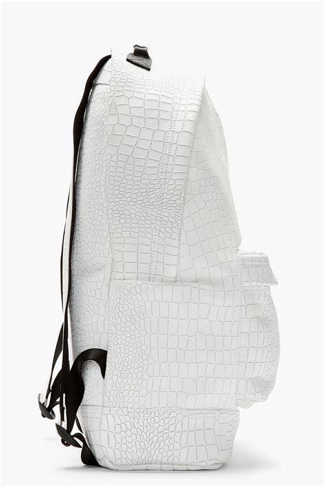 vans pattern backpack lyst kris van assche white etched croc pattern backpack