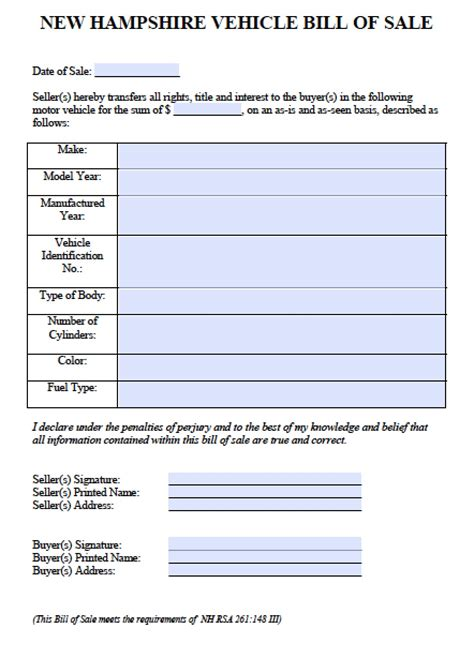 Free New Hshire Car Vehicle Bill Of Sale Form Pdf Word Doc Nh Boat Bill Of Sale Template