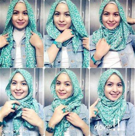 gambar tutorial berhijab modern contoh kreasi tutorial hijab modern pashmina terpopuler
